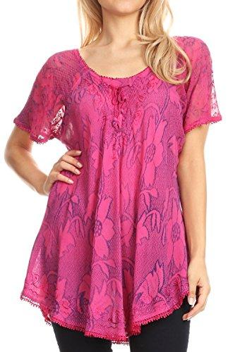 Sakkas 16788 - Maliky Wide Corset Neck Floral Embroidered Cap Sleeve Blouse Top Shirt - Fuchsia - OS