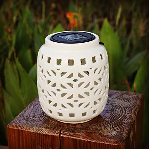 Jar Solar Lights Hollowed-Out Solar Hanging Ceramic Light for Indoor and Outdoor Decoration as Lanterns and Table Lights (White)
