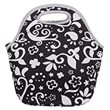 Printed Zip Insulated Neoprene Lunch Tote Bag Bento Picnic Handbag