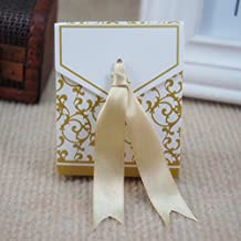 100 Pack Lovely Gift Candy Boxes With Ribbon Wedding Party Favor Box (Gold)