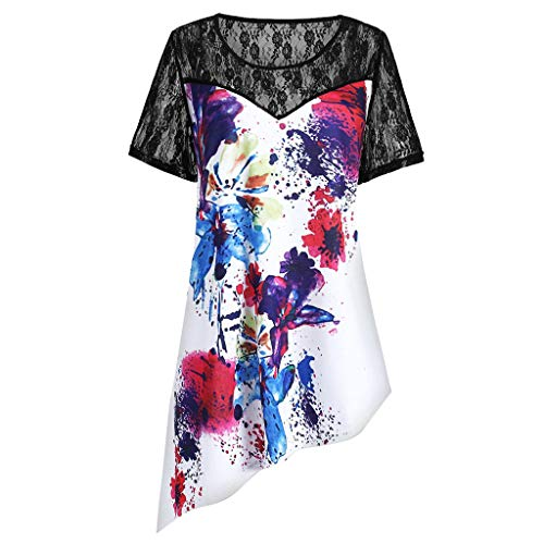 TnaIolral Women Lace Blouse Short Sleeve Panel Tie Dye Asymmetrical T-Shirt Summer Top -