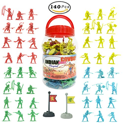Cowboys & Indians Big Bucket of Toy Soldiers Army Men Figurines (140 Pcs)