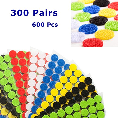 "Miracle Market 300 Pairs (600 pcs) of Colorful Hook and Loop Self Adhesive Fastener Dots | Sticky Back ¾"" (20 mm) Diameter Coins 