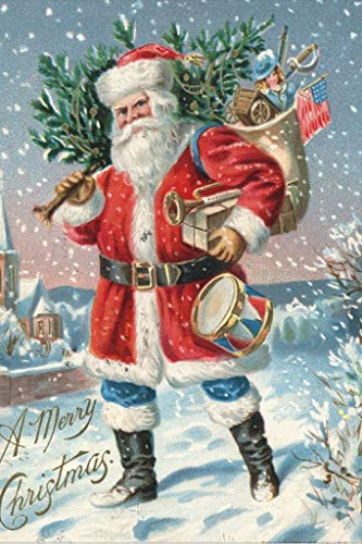 Wentworth American Christmas Card 250 Piece Santa Claus Wooden Vintage Art Puzzle with Wood Shaped Whimsy Pieces