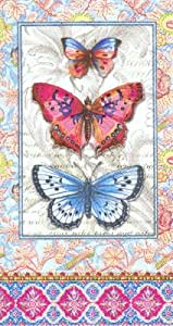Punch Studio Boutique 16 Ct Paper Guest Towels / Dinner Napkins, Pink Blue Butterfly Damask