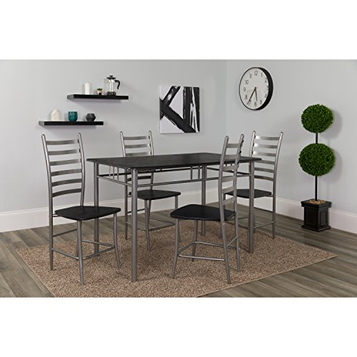 Flash Furniture Manhattan 5 Piece Black Wood Grain Finish Dinette Set with (Black Dinette Set)