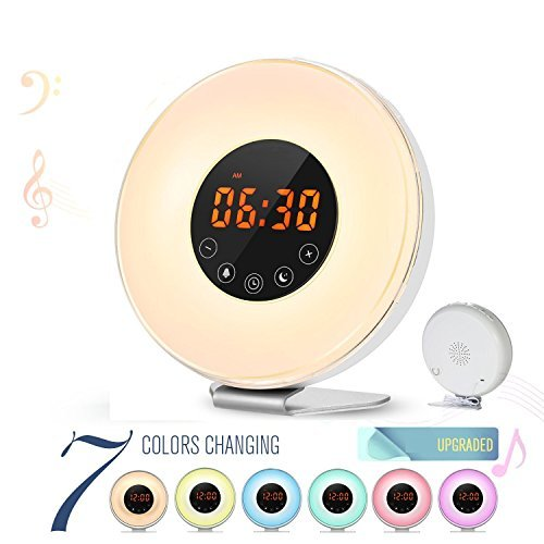 BOOGIIO Sunrise Wake Up Light Alarm Clock Simulation Digital LED Clock, 6 Natural Sounds, FM Radio, Smart Snooze/Sunset Function, Touch Control 7 Color Switch Night Light With USB Charger by BOOGIIO
