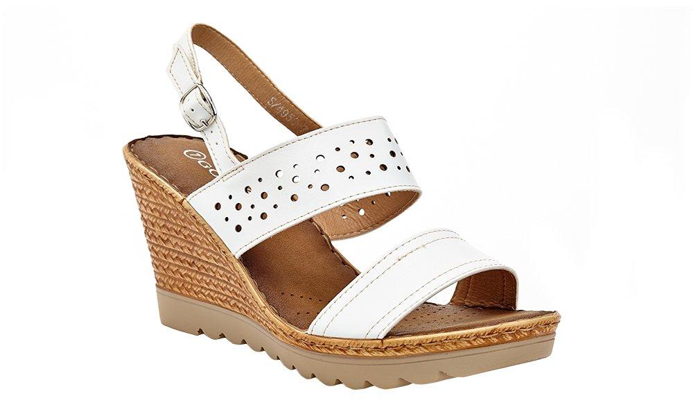 Lady Godiva Women's Open Toe Wedge Sandals Multiple Styles B079YX34Z3 8 B(M) US|White - 4956