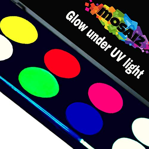 Non-Grease Glow In The Dark Face Paint Body Painting Kit (Includes White) Glows Under UV BlackLight Hair Nail Neon Facepaints Reactive Fluorescent Set Party Supplies Disco Makeup Tattoo Fabric Cloth
