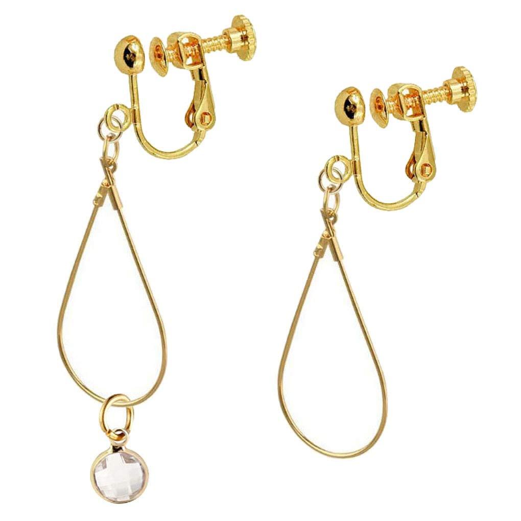 Birthstone Clip on Earrings for Girls Crystal April Teardrop Dangle Asymmetrical Earring