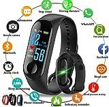 M3 Band Bluetooth 4.0 Sweatproof Smart & Sleek Fitness Wristband with Heart Rate Monitor Tracker (Black)