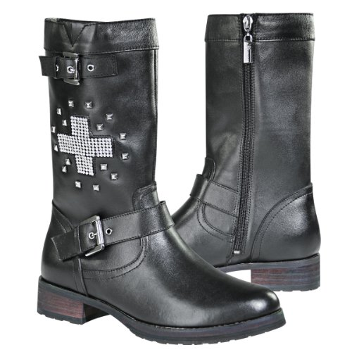 Xelement LU8596 Stud Cross Womens Black Leather Biker Boots - 8 1/2