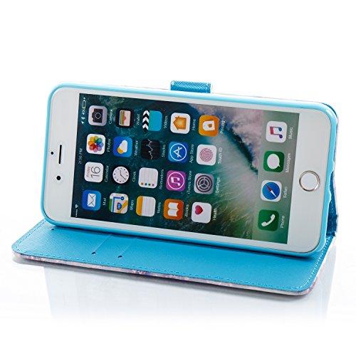 iPhone 7 Plus Coque Marbre vert Portefeuille Fermoir Magnétique Supporter Flip Téléphone Protection Housse Case Étui Pour Apple iPhone 7 Plus + Deux cadeau