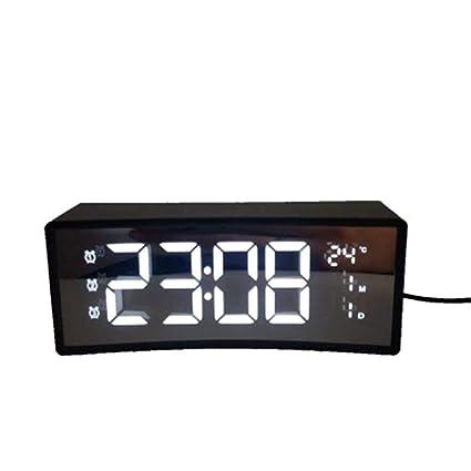 V.JUST Despertador 3D Reloj Electrónico Lado De Noche Digital LED Posponer Pantalla Grande Superficie