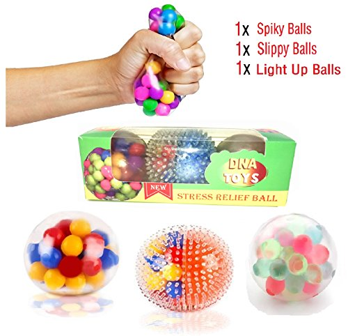 EDsportshouse DNA Stress Relief Balls Set(3 Pack)-Squeezing & Fidget Balls-Risk-Free Sensory Rubber Toy Balls for Anxiety Kids/Adults with Autism, ADHD, Bad Habits & More