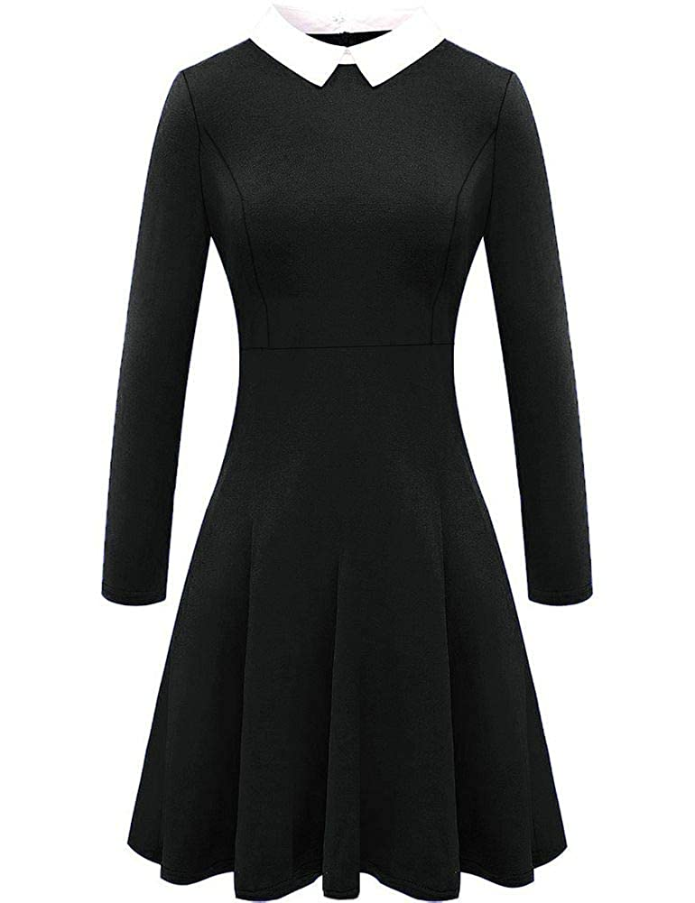 For G and PL Womens Peter Pan Collar Black Skater Dress