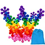 Kids 120 Pieces Building Blocks Toys, Aiernuo Interlocking Solid PE Plastic Building Set Safe Non-Toxic Material Educational Toy Games Package with Reusable Bag