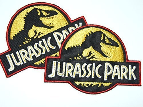 Onekool Jurassic Park Logo Iron Sew On Patch Badge Transfer Fancy Dress Costume - 2 Badges -