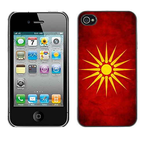 Omega Case PC Polycarbonate Cas Coque Drapeau - Apple iPhone 4 / 4S ( Macedonia Grunge Flag )