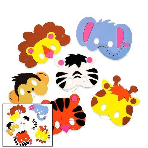 Foam Zoo Animal Masks Craft Kit (Makes 12 Animals) by Fun Express