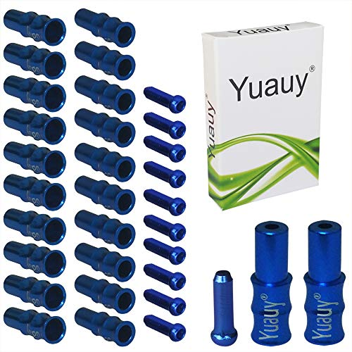 Yuauy Wave Style (Total 30 PCs) 10 PCs 5mm Blue Alloy Mountain Road Bicycle Bike Brake Cable Tips Caps End Crimp + 10 PCs 4mm Shift Derailleur Cable Tips End + 10 PCs Cable End Crimps