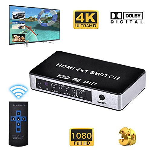 HDMI 4x1 Switch, 4K x 2K 4 Port HDMI Switcher with PIP Mode and IR Remote, Support 1080P 3D for Home Theater / Multimedia Presentation / HDTV / DVD / PS3 / PS4 / STB / Bluray Player etc