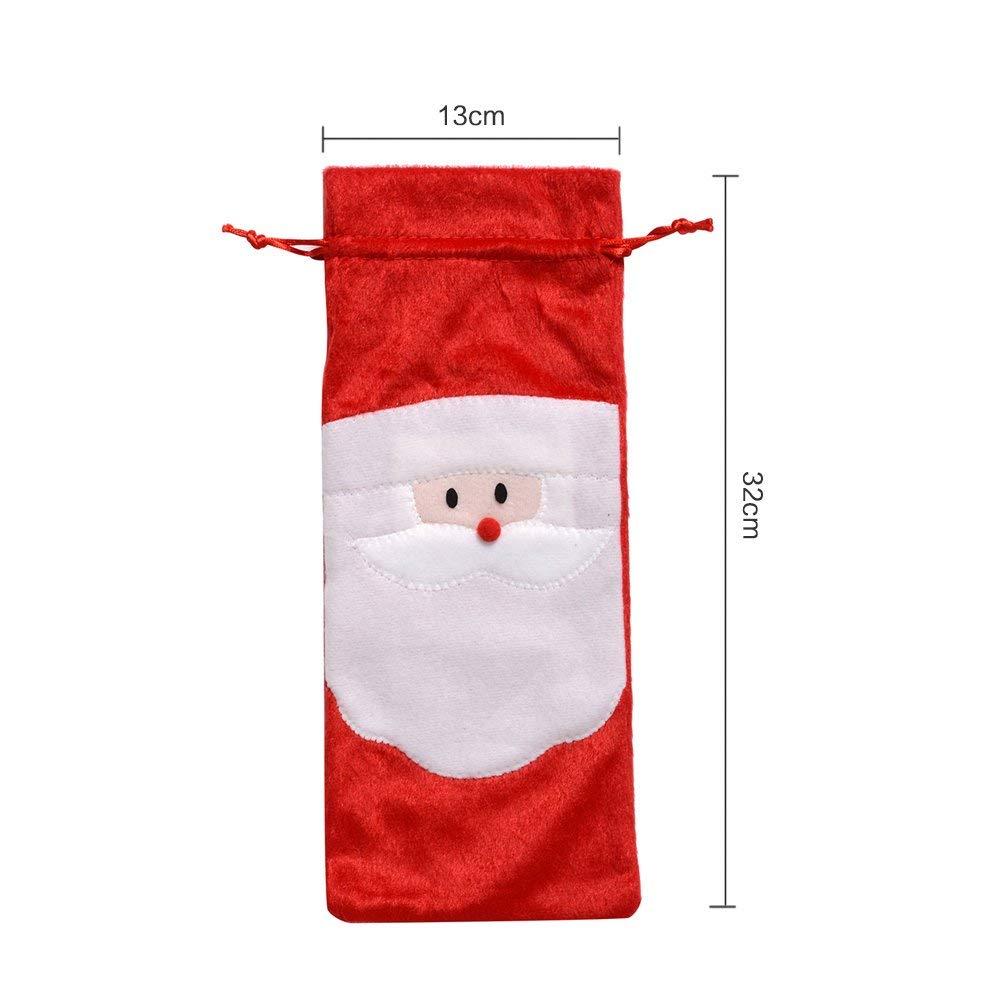 QBSM 4 Stück Weihnachtsmann Weinflasche Abdeckung Rotwein Taschen ...