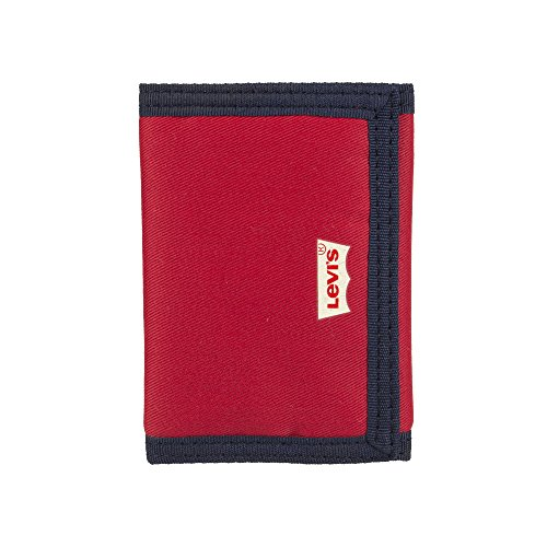 Levi's Men's RFID Security Blocking Nylon Trifold Wallet, red, One Size