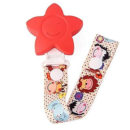 Chupetes de Clip Bebé Clip de Chupete Cadena para Chupete - Cinta con Clip para Sujetar el Chupete Cocomall