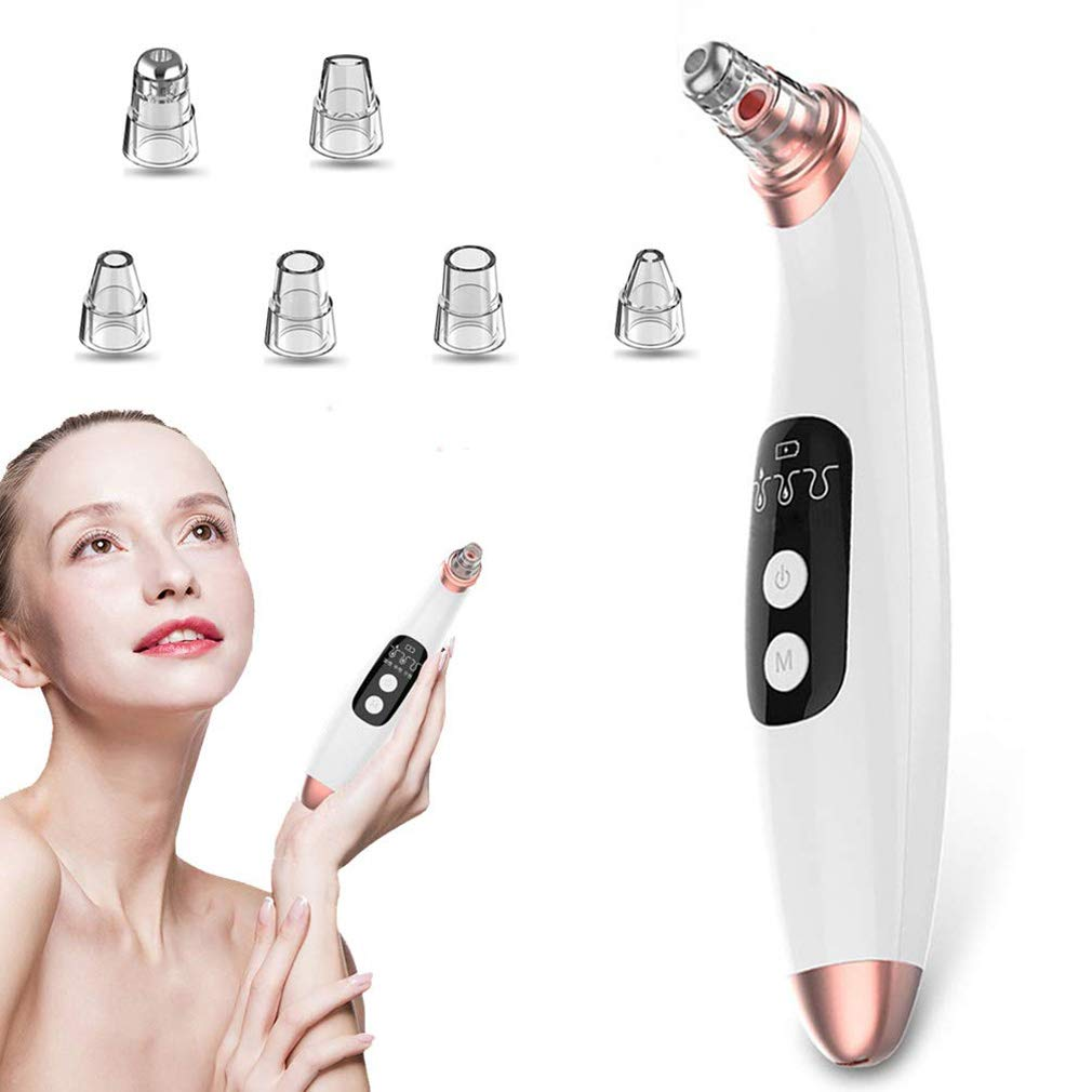 Blackhead Remover, Pore Vacuum Electric Blackhead Vacuum Extractor Clean Tool - Comedo Pore Extracotr Beauty Device with 6 Probes (White)