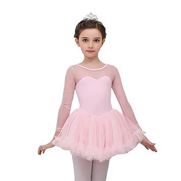 Moresave - Vestido de mangas largas de ballet para niñas, con falda de tutú, vestido para gimnasia y baile