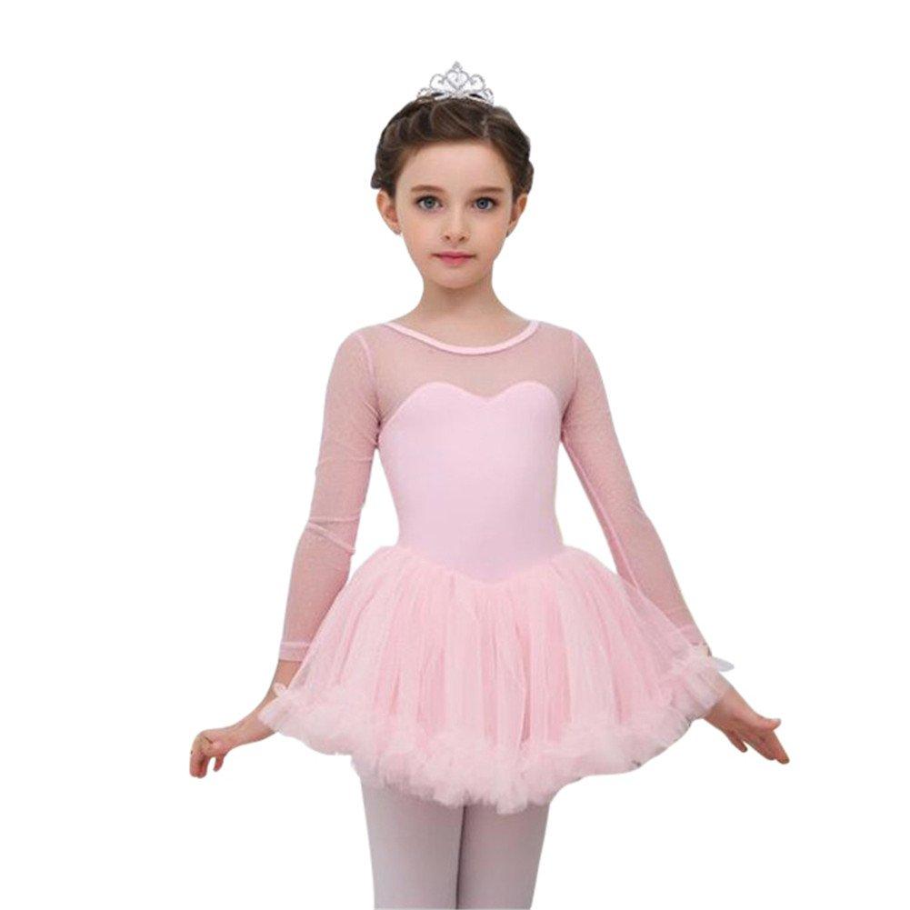 Jlong Girls Long Sleeve Gymnastics Leotard Ballet Salsa Tutu Dress Dancewear
