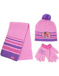 Disney Princess, Scarf Mitten Cold Weather, Pink/Purple, Hat and Glove Set, Age 4-7, Little Girl Age 4-7