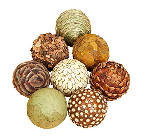 Benzara 42950 Natural Ball for Short Spaces on Tables Or Shelves, Set of 8 from Benzara