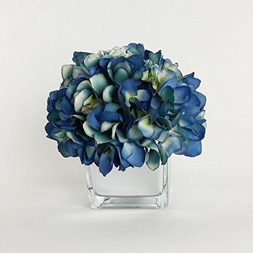 RG Style Silk Hydrangea in Decorative Vase Artificial Floral (Blue Floral Vase)