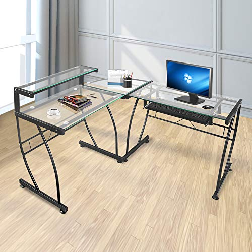 JOO LIFE L-Shaped Computer Desk with Clear Tempered Glass Corner Computer Desk with Shelf & Keyboard Tray,Spacious Work Area for Study Home Office, Glass & Metal PC/Computer Table Workstation
