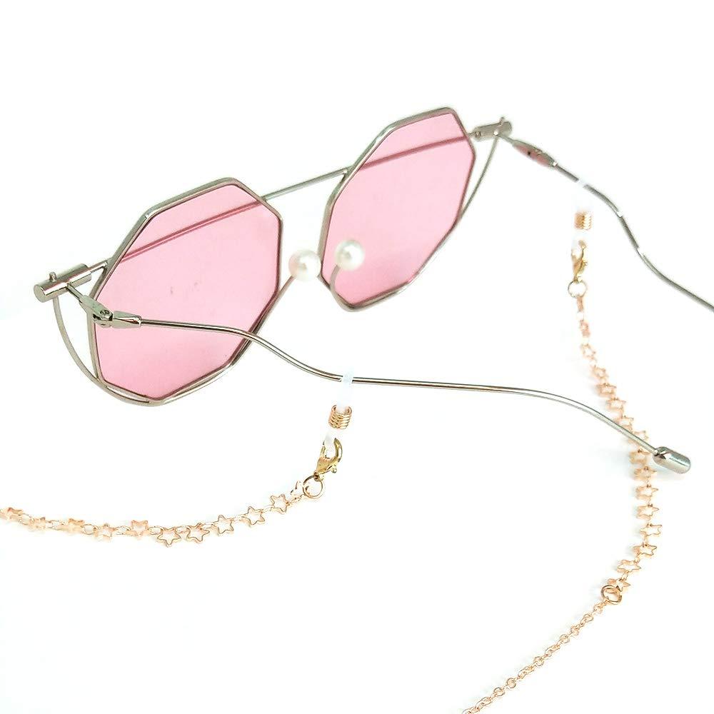 TERAISE Catena Per Occhiali Da Vista Donna//Donna Retro Fashion Metallo Intagliato Occhiali Da Sole Cords Strap Regolabile Con Panno Pulito