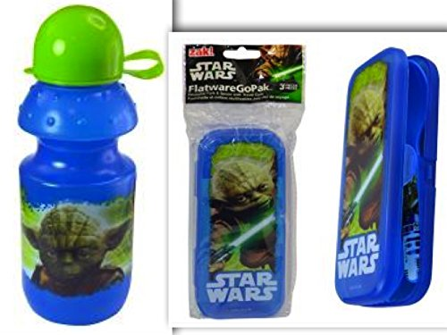 Star Wars Yoda BPA Free Snack Bundle- 2 Items: BPA-Free 13 oz Water Bottle with Pull Open Round Cap & Pull Top Drinking Spout