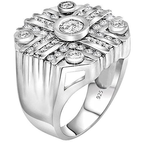 Mens Sterling Silver .925 Octagonal Iced Out Ring Featuring 49 Round and Baguette Cubic Zirconia (CZ) Stones, Platinum Plated.