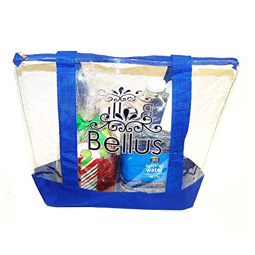 (Large Clear Tote Bag with Zipper Closure (Blue))