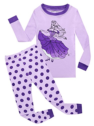BABEE WELL Girls Princess Pajamas Cotton Childrens Sleepwear Clothes Toddler Pyjama Set (Purple,4T)