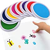 YoyoArt 8Pc Children's Color Finger Painting Ink DIY Ink Pad Stamp Finger Painting Craft Cardmaking Large Round for Kids (A#)