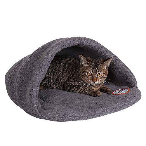 Yuting Cozy Plush Pet Bed Cave Mat for Small Dog Cat(S/M/L) (L, gray) ()