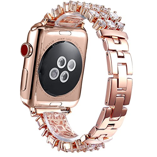 FanTEK Band for Apple Watch 38mm, Luxury Crystal Bling Rhinestone Diamond Bracelet Strap, Adjustable Stainless Steel Replacement Band Compatible with iWatch 38mm Series 3 Series 2 Series 1 Rose Gold