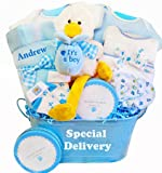 Special Delivery Personalized New Baby Boy Gift Basket