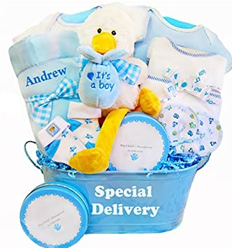 76c4f9238677 Amazon.com   Special Delivery Personalized New Baby Boy Gift Basket   Baby