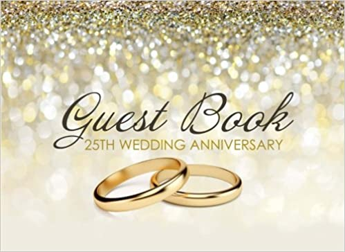 Guest Book 25th Wedding Anniversary Beautiful Ivory Guest Book