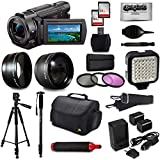 Sony FDR-AX53 4K Ultra HD Handycam Camcorder with 64GB Memory Card, 3Pcs Filter Kit, Video Light, Carrying Case, 60 Tripod, 72 Monopod, FB-1000 Flash Bracket, Microfiber Cloth and Accessory Set Kit
