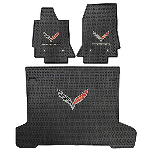 Lloyd Mats Corvette C7 Signature Rubber All-Weather Floor Mats - 2014-On 2pc Front, 1pc Cargo. Fits Year Models 2014, 2015, 2016, 2017, 2018, 2019, 2020.