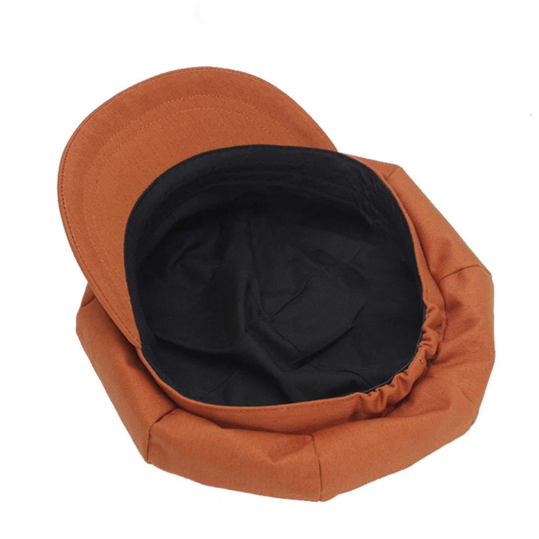 XDH-RTS Womens Newsboy Hats Summer Spring Female Cotton Flat Hat Girls Painter Hat Solid Orange Octagonal Cap Beret